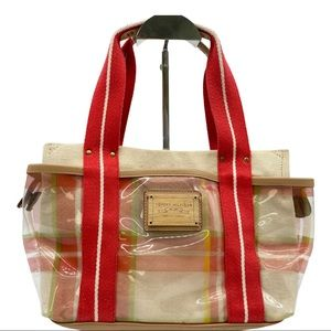 Tommy Hilfiger Plaid Canvas Clear Satchel Red Tan